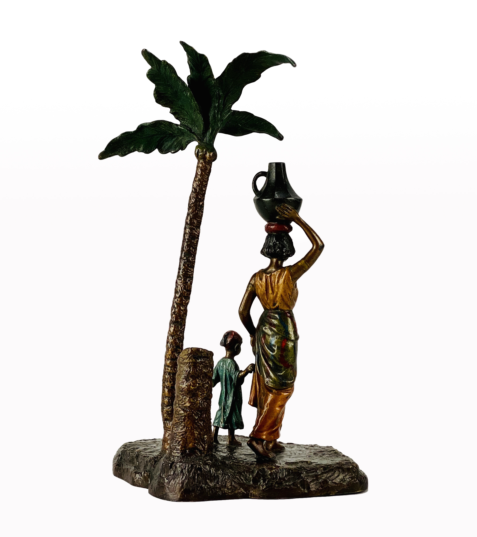 Lot 147 - Franz Bergman (1861 ~ 1936) Vienna bronze of a Lady and Boy under a Palm Tree