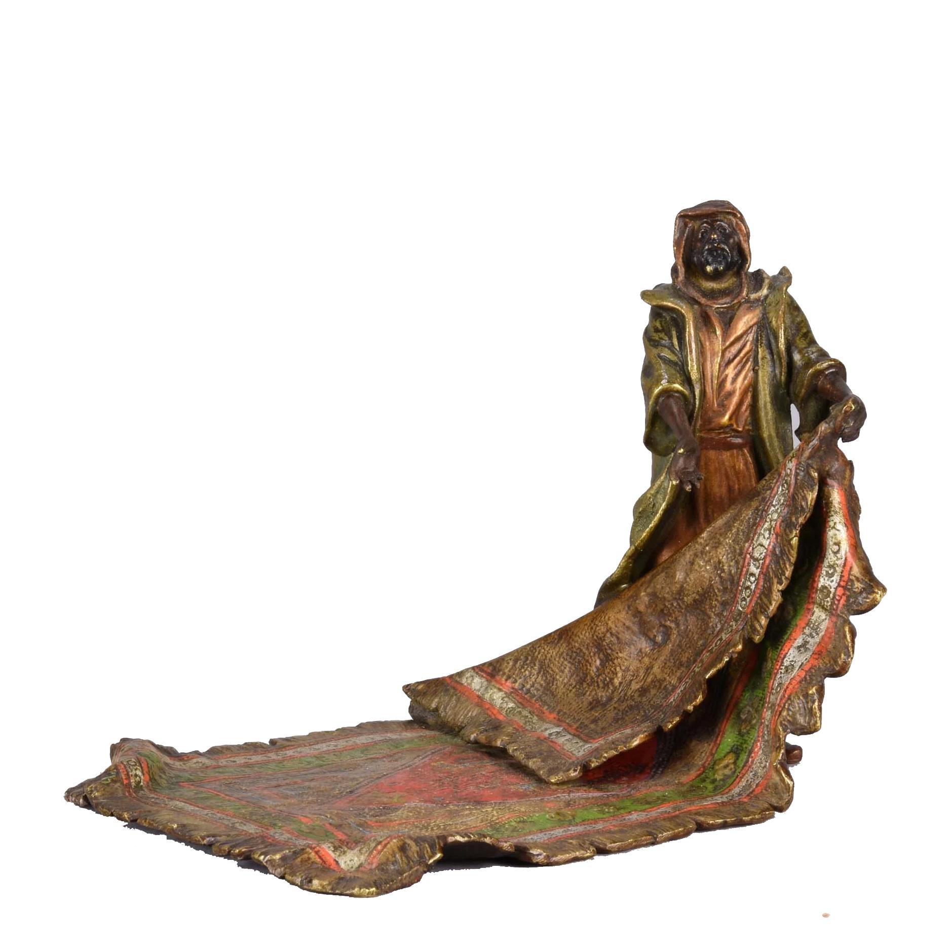 Lot 149 - Franz Bergman (1861 ~ 1936) Vienna bronze of a Carpet Seller