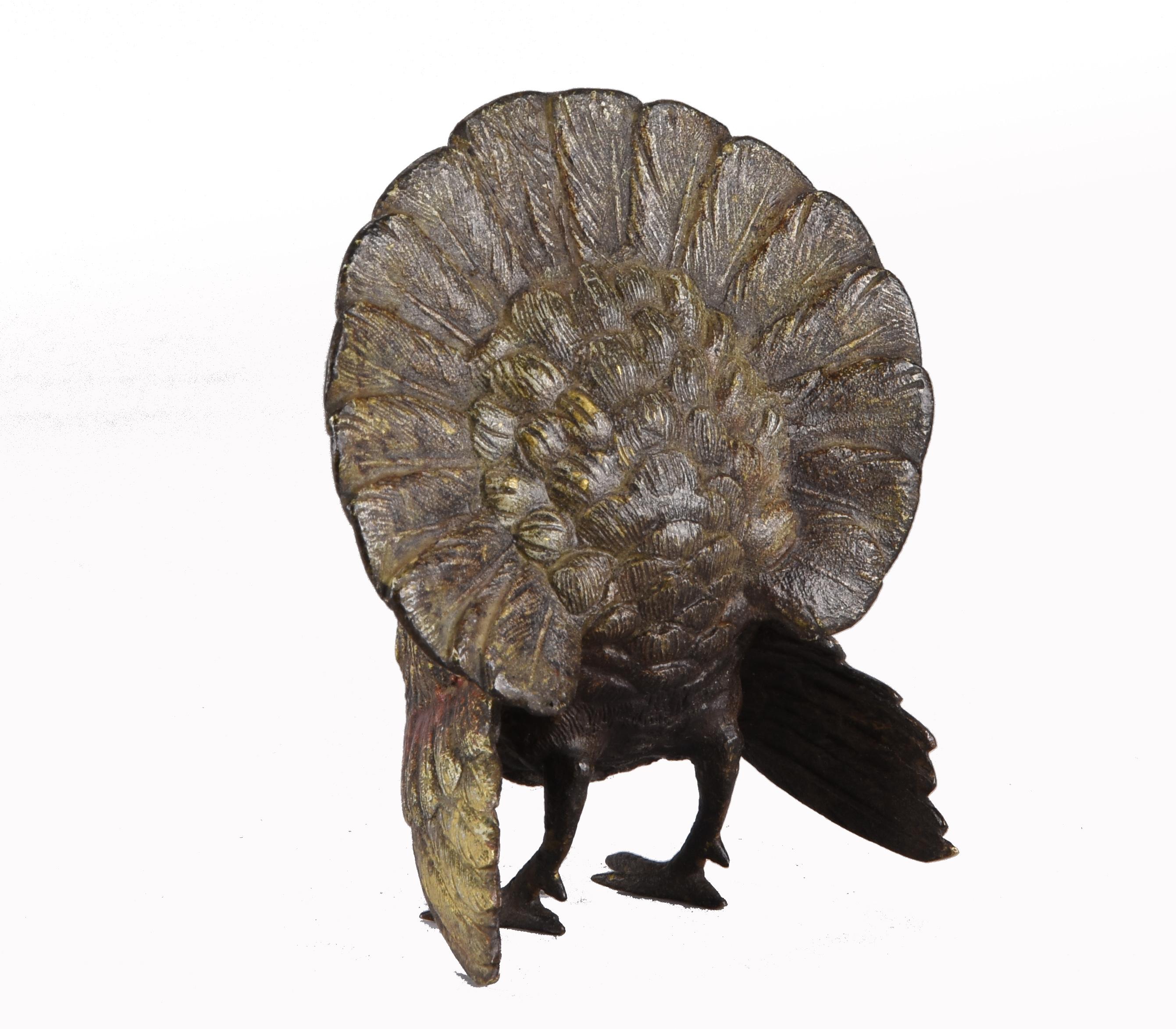 Lot 148 - Franz Bergman (1861 ~ 1936) Vienna bronze of a standing Turkey