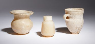 Three Egyptian Alabaster Vessels Height of tallest