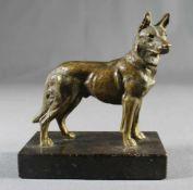 """1 kleine Bronzefigur auf schwarzem Marmorsockel """"Schäferhund"""", keine Signatur erkennbar, Sockel"""