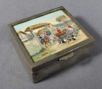 1 kleine alte Zigarettendose Holz mit Metalleinfassung, quadratische Form, Deckel mit kleinem