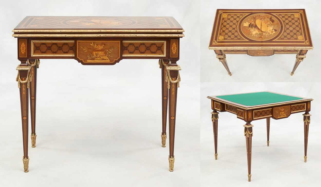 Lot 17 - De style Louis XVI.Meuble: Table à jeux pouvant former console en placage et marqueterie de boi