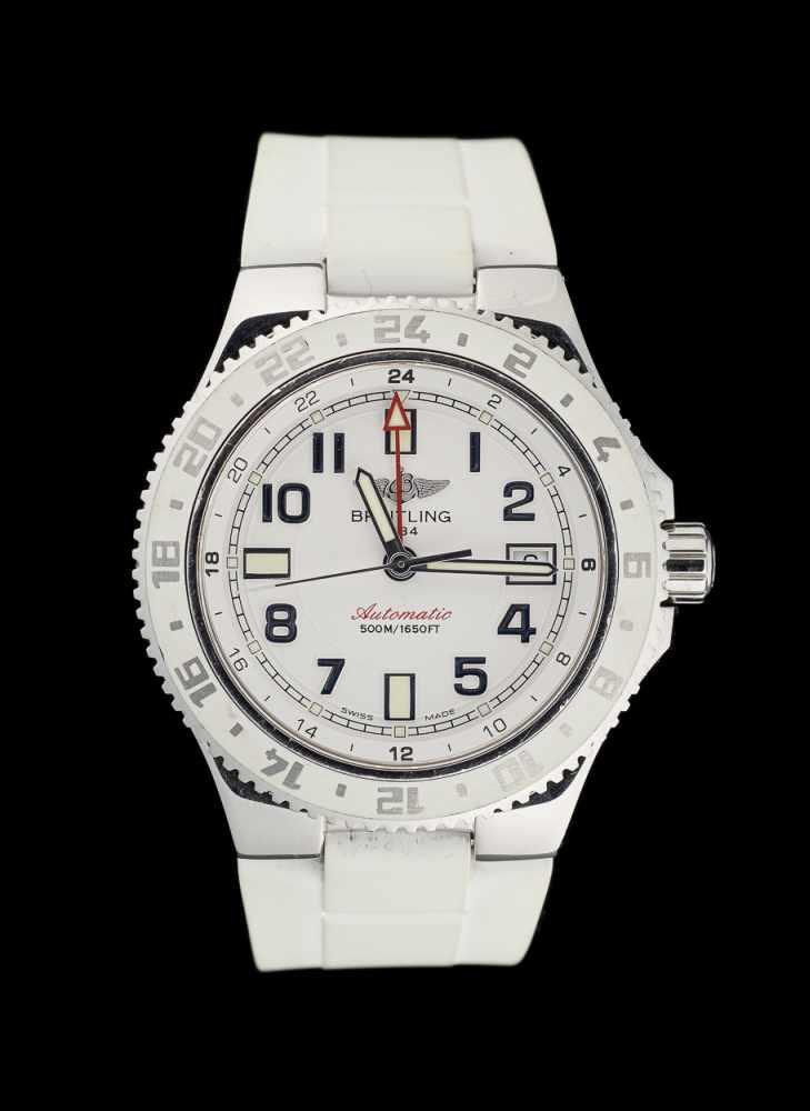 Lot 11 - Breitling.Horlogerie: Bracelet-montre d'homme en acier, modèle automatique, cadran à fond blanc
