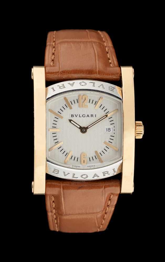 Lot 12 - Bulgari.Horlogerie: Bracelet-montre d'homme en acier et or, dans son écrin d'origine.De mar
