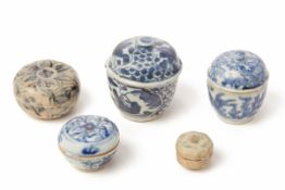 A SET OF FIVE BLUE AND WHITE PORCELAIN COSMETIC BOXES