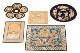 A GROUP OF ANTIQUE CHINESE RANK BADGES AND EMBROIDERIES