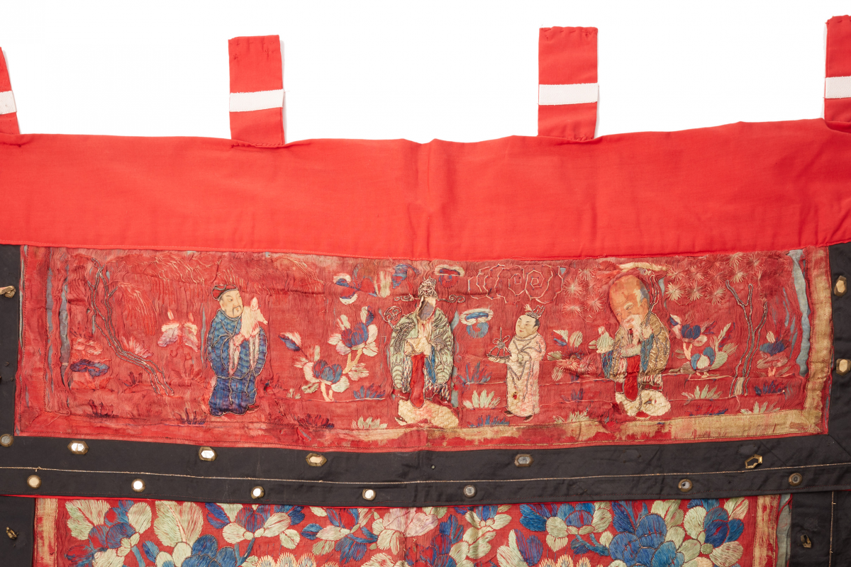 Lot 37 - A LARGE CHINESE EMBROIDERED BANNER