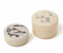 TWO CIRCULAR BLUE AND WHITE PORCELAIN COSMETIC BOXES