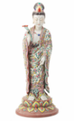 A LARGE FAMILLE ROSE FIGURE OF GUANYIN