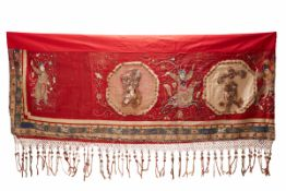 A VERY LONG CHINESE EMBROIDERED SILK BANNER