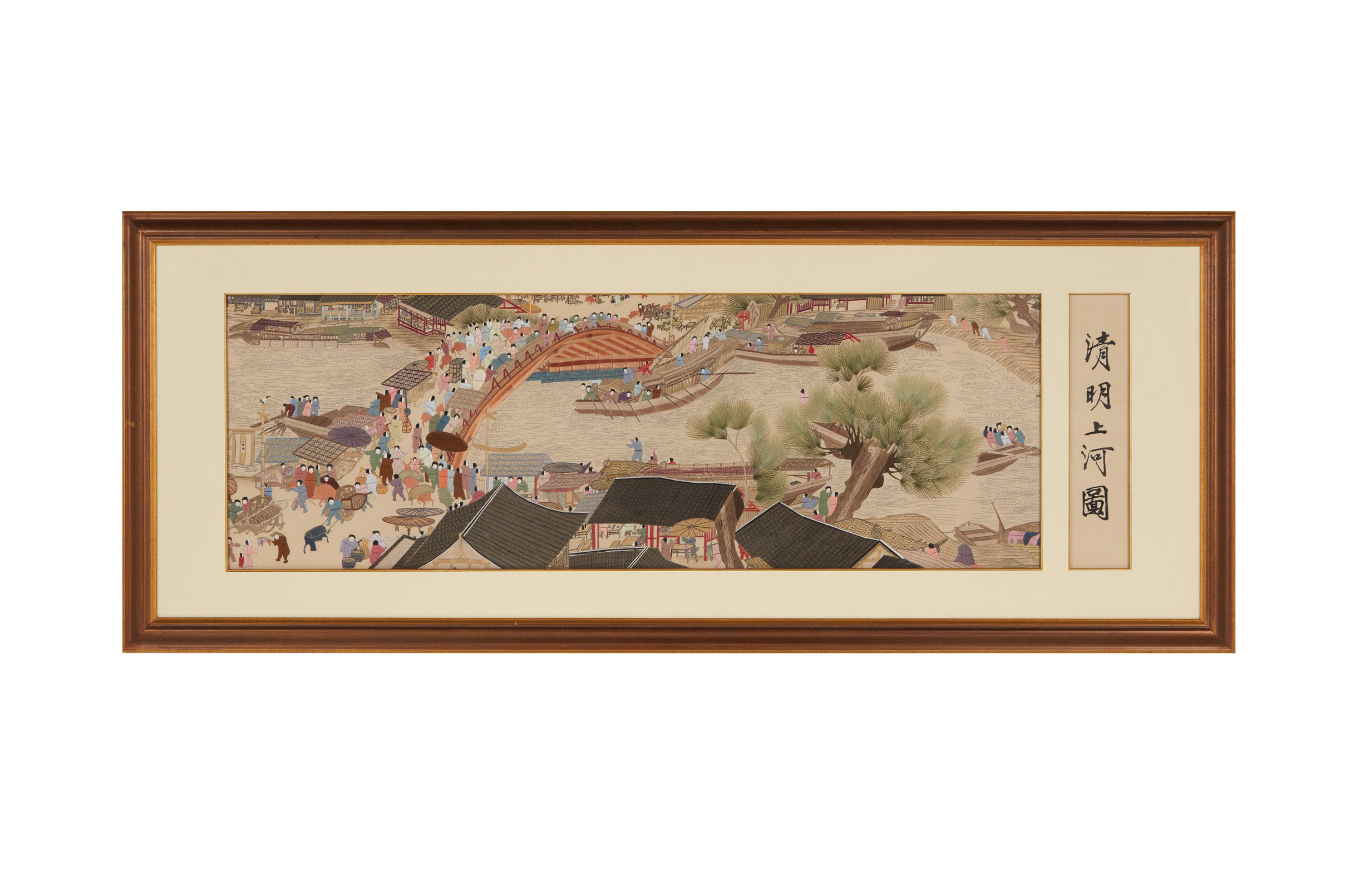 Lot 35 - A LARGE EMBROIDERED PICTURE AFTER 'QINGMING SHANGHE TU'