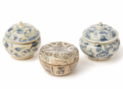 THREE BLUE AND WHITE PORCELAIN COSMETIC BOXES