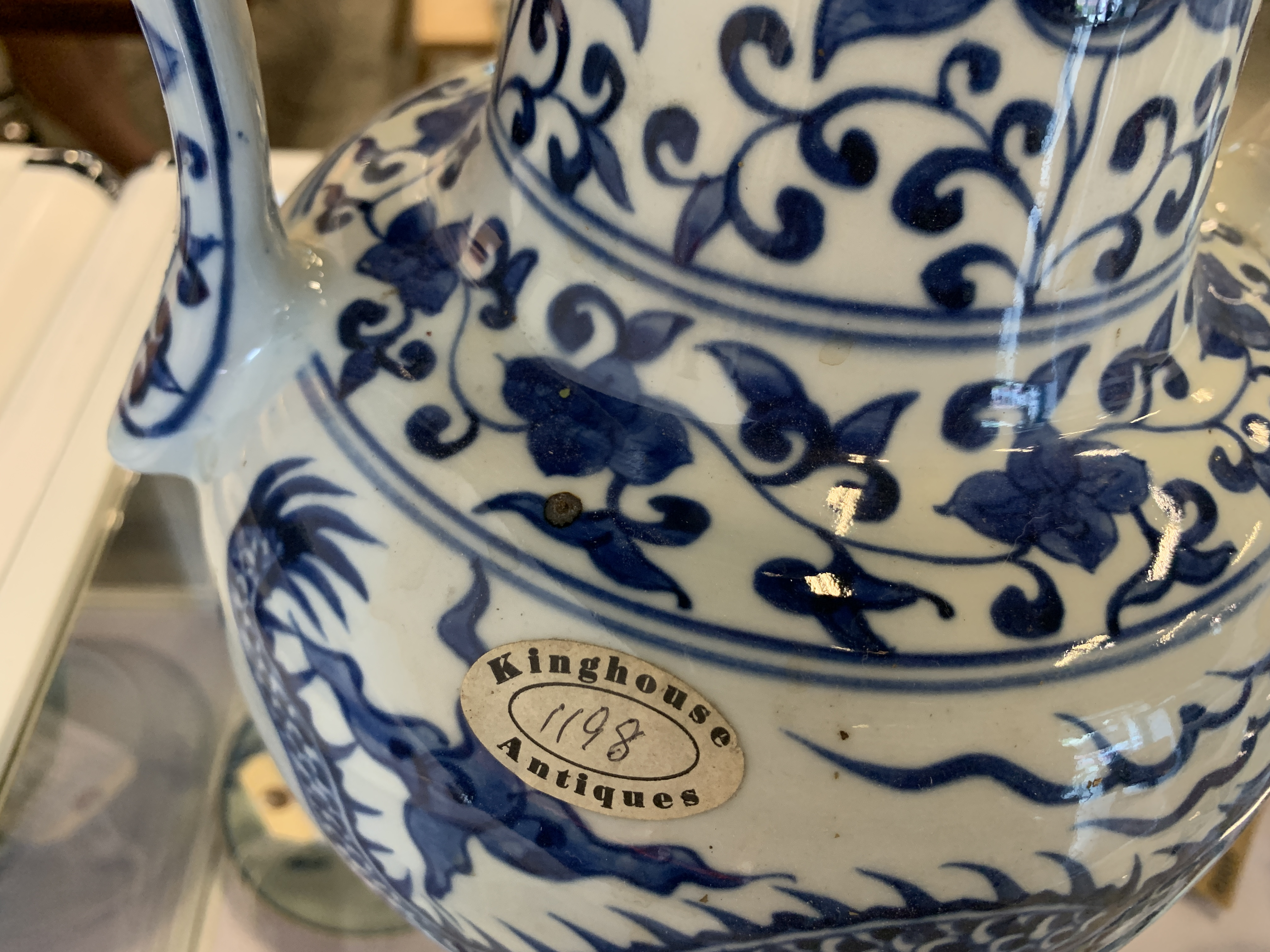 Lot 32 - A LARGE BLUE AND WHITE PORCELAIN EWER