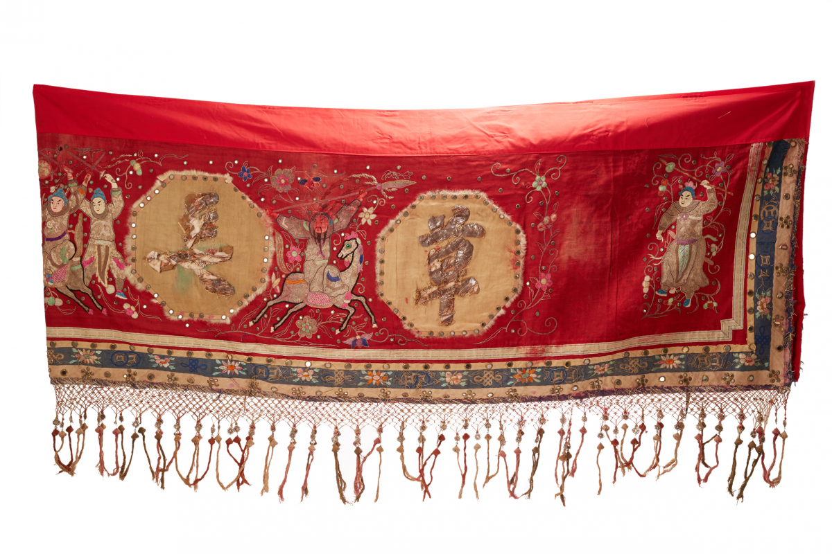 Lot 40 - A VERY LONG CHINESE EMBROIDERED SILK BANNER