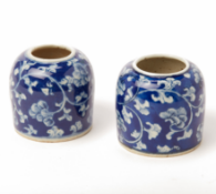 TWO BLUE AND WHITE PORCELAIN MINIATURE VASES