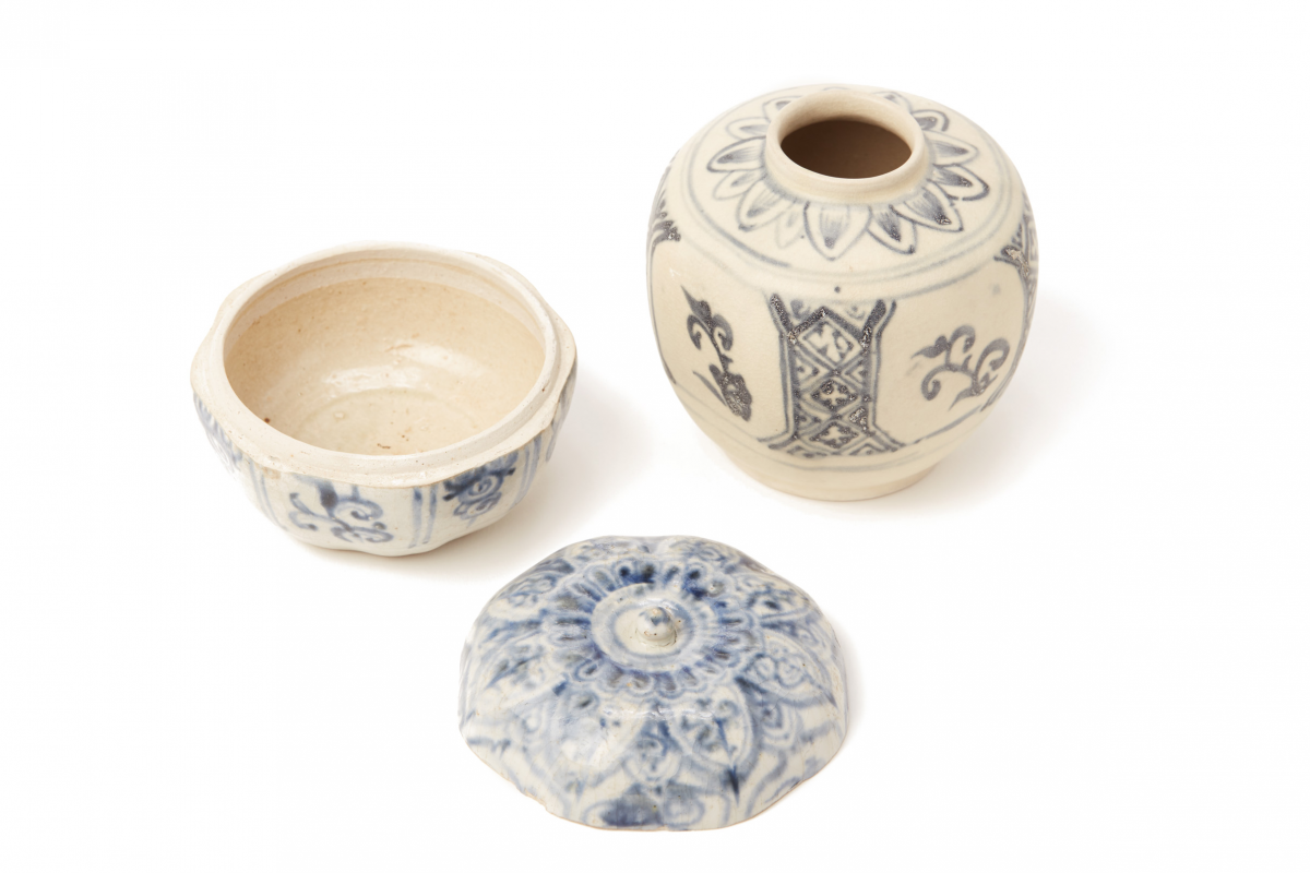 Lot 52 - TWO BLUE AND WHITE PORCELAIN CONTAINERS