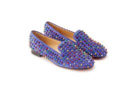 A PAIR OF CHRISTIAN LOUBOUTIN BLUE LOAFERS EU 39.5