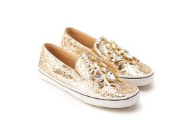 A PAIR OF KATE SPADE GOLD GLITTER SNEAKERS EU 39