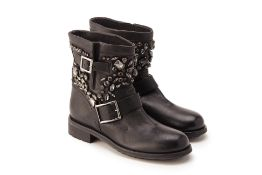 A PAIR OF JIMMY CHOO 'CRYSTAL YOUTH' BOOTS EU 38