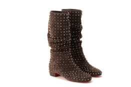 A PAIR OF CHRISTIAN LOUBOUTIN SPIKED BOOTS EU 41