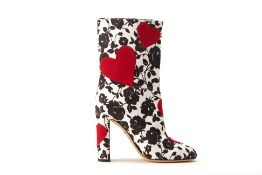 A PAIR OF DOLCE & GABBANA RED HEART & ROSES BOOTS EU 39