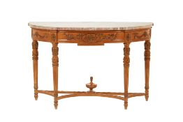 A FRENCH DEMI-LUNE MARBLE TOP CONSOLE TABLE