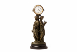 AN ANTIQUE FRENCH FIGURAL PATINATED SPELTER CLOCK