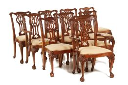 A SET OF 10 GEORGE III STYLE DINING CHAIRS
