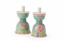 A PAIR OF STRAITS CHINESE CANDLE HOLDERS