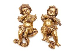 TWO GILT PUTTI