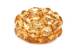 A CITRINE BOMBE RING