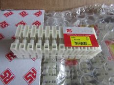 100 Packs Vertical Terminal Block 2 x 12 Way/Pole, Screw Down 4 mm² H9554 8869248