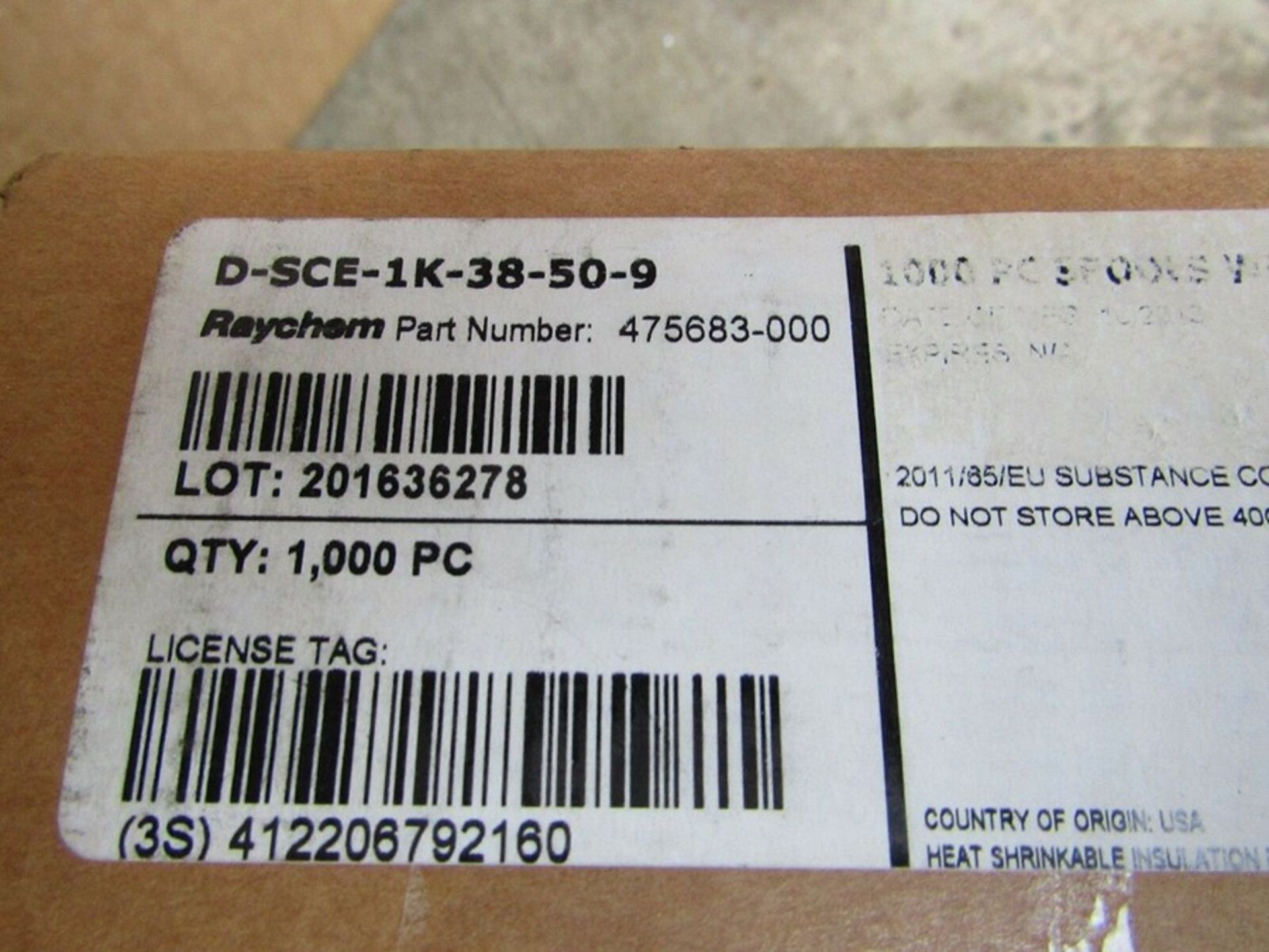 Box of 1000 TE Connectivity D-SCE Heat Shrink Cable Marker White 1005fc 8967825 - Image 2 of 3