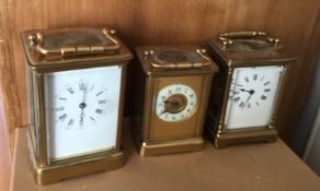 Lot of 3 Vintage Carriage Clocks for repairs etc - largest 130 mm tall.