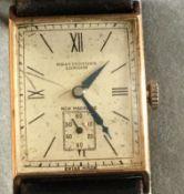 Vintage Bravington's London Gent 9 karat Gold Watch - face 30mm x 25mm - working condition.