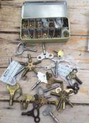 Lot Vintage Clock Keys and Modern Pocket Watch Keys.