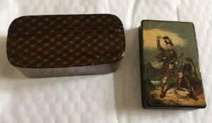 """Antique Pictorial Tartan Ware Snuff Box """"Macdonnell of Glengarry"""" 88mm x 58mm plus other Snuff Box."""
