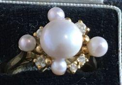 Vintage 18 karat Gold Pearl and Diamond Ring - UK size P with London Hallmarks - 6.4 grams.