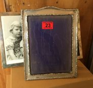 """Lot of 3 Vintage Various Silver Photo Frames - 2 at 9"""" x 7"""" and 10 1/2"""" x 7 3/4""""."""
