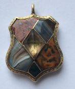 Antique Scottish Yellow Metal and Agate Mourning Locket - 32mm x 20mm.