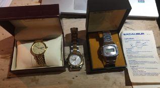 Lot of Seiko Quartz Chronograph-Boxed Rotary Quartz and Boxed Excalibur Digi Quartz Watch.
