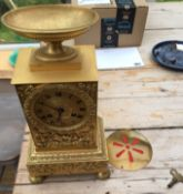 """Antique Yellow Metal French Clock - 12"""" x 6 1/2""""."""
