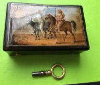 Antique Miniature Musical Box with Hand Painted Scene - 94mm x 60mm x 33mm -working order.