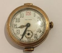 Antique Arcadia 14k Gold Cased Wristwatch in an working order - 19.7 grams total weight.