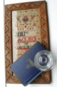 Lot of Antique Sampler-Jacobean Glass and Franklin Book possible connection Arctic Exploration.