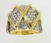 14K yellow gold diamond set ring, 8.3g , Size N