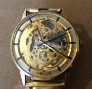 Vintage Gold Plated Vertex Revue Skeleton Watch - 35mm case - working order.