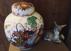 Large Mason's Ginger Jar and Lladro Donkey.