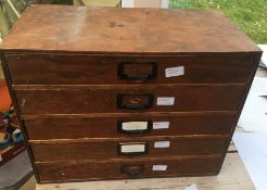 Vintage 5 Drawer Cabinet of Watch Glasses, Crowns, Watch Parts etc.